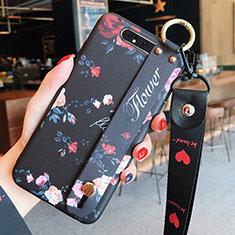 Coque Silicone Fleurs Souple Couleur Unie Etui Housse S07 pour Samsung Galaxy A80 Noir