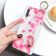 Coque Silicone Fleurs Souple Couleur Unie Etui Housse S08 pour Huawei P30 Rose