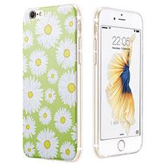 Coque Silicone Fleurs Souple Couleur Unie pour Apple iPhone 6S Vert