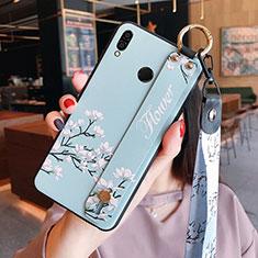 Coque Silicone Fleurs Souple Couleur Unie pour Huawei Honor 8X Cyan