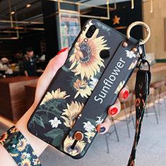 Coque Silicone Fleurs Souple Couleur Unie pour Huawei Honor 8X Noir