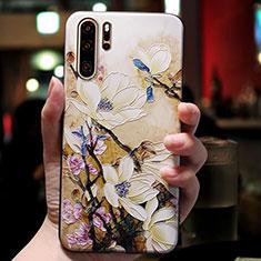 Coque Silicone Fleurs Souple Couleur Unie pour Huawei P30 Pro Mixte