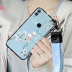 Coque Silicone Fleurs Souple Couleur Unie S01 pour Huawei Honor 8X Bleu Ciel