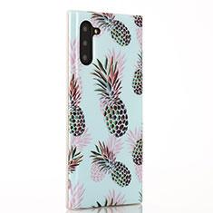 Coque Silicone Fruit Souple Couleur Unie Etui Housse S01 pour Samsung Galaxy Note 10 5G Cyan