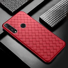 Coque Silicone Gel Motif Cuir Housse Etui A01 pour Huawei Enjoy 9s Rouge