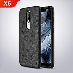 Coque Silicone Gel Motif Cuir Housse Etui A01 pour Nokia X5 Noir