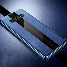 Coque Silicone Gel Motif Cuir Housse Etui A01 pour Samsung Galaxy S10 Plus Bleu