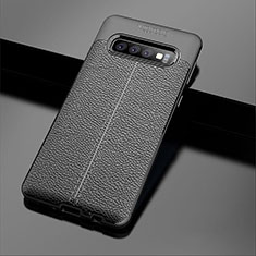 Coque Silicone Gel Motif Cuir Housse Etui A02 pour Samsung Galaxy S10 5G Noir