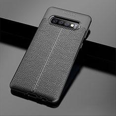 Coque Silicone Gel Motif Cuir Housse Etui A02 pour Samsung Galaxy S10 Plus Noir