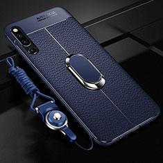Coque Silicone Gel Motif Cuir Housse Etui avec Support Bague Anneau Aimante Magnetique A01 pour Huawei Honor Magic 2 Bleu