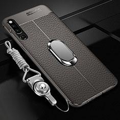 Coque Silicone Gel Motif Cuir Housse Etui avec Support Bague Anneau Aimante Magnetique A01 pour Huawei Honor Magic 2 Gris