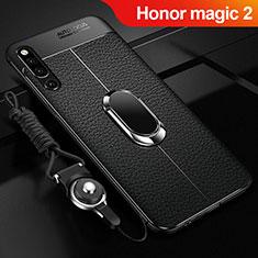 Coque Silicone Gel Motif Cuir Housse Etui avec Support Bague Anneau Aimante Magnetique A01 pour Huawei Honor Magic 2 Noir