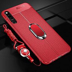 Coque Silicone Gel Motif Cuir Housse Etui avec Support Bague Anneau Aimante Magnetique A01 pour Huawei Honor Magic 2 Rouge