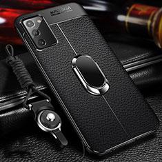 Coque Silicone Gel Motif Cuir Housse Etui avec Support Bague Anneau Aimante Magnetique N02 pour Samsung Galaxy Note 20 5G Noir