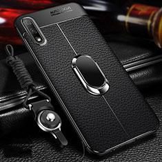 Coque Silicone Gel Motif Cuir Housse Etui avec Support Bague Anneau Aimante Magnetique pour Huawei Enjoy 10 Noir