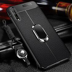 Coque Silicone Gel Motif Cuir Housse Etui avec Support Bague Anneau Aimante Magnetique pour Huawei Enjoy 10S Noir