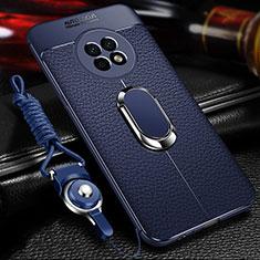 Coque Silicone Gel Motif Cuir Housse Etui avec Support Bague Anneau Aimante Magnetique pour Huawei Enjoy 20 Plus 5G Bleu