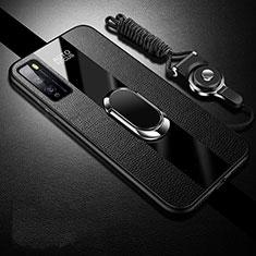 Coque Silicone Gel Motif Cuir Housse Etui avec Support Bague Anneau Aimante Magnetique pour Huawei Enjoy 20 Pro 5G Noir