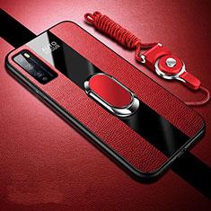 Coque Silicone Gel Motif Cuir Housse Etui avec Support Bague Anneau Aimante Magnetique pour Huawei Enjoy 20 Pro 5G Rouge