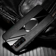 Coque Silicone Gel Motif Cuir Housse Etui avec Support Bague Anneau Aimante Magnetique pour Huawei Honor 30 Pro+ Plus Noir