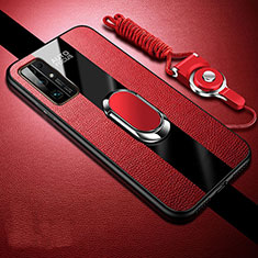 Coque Silicone Gel Motif Cuir Housse Etui avec Support Bague Anneau Aimante Magnetique pour Huawei Honor 30 Rouge