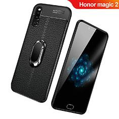 Coque Silicone Gel Motif Cuir Housse Etui avec Support Bague Anneau Aimante Magnetique pour Huawei Honor Magic 2 Noir