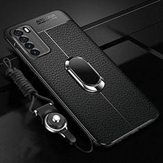 Coque Silicone Gel Motif Cuir Housse Etui avec Support Bague Anneau Aimante Magnetique pour Huawei Honor Play4 5G Noir