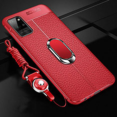 Coque Silicone Gel Motif Cuir Housse Etui avec Support Bague Anneau Aimante Magnetique pour Huawei Honor Play4 Pro 5G Rouge
