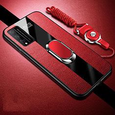 Coque Silicone Gel Motif Cuir Housse Etui avec Support Bague Anneau Aimante Magnetique pour Huawei Honor Play4T Pro Rouge