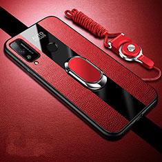 Coque Silicone Gel Motif Cuir Housse Etui avec Support Bague Anneau Aimante Magnetique pour Huawei Honor Play4T Rouge