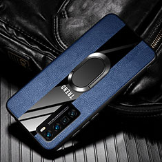 Coque Silicone Gel Motif Cuir Housse Etui avec Support Bague Anneau Aimante Magnetique pour Huawei Nova 7 Pro 5G Bleu