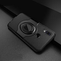 Coque Silicone Gel Motif Cuir Housse Etui avec Support Bague Anneau Aimante Magnetique pour Huawei P20 Lite Noir
