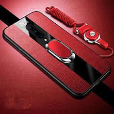 Coque Silicone Gel Motif Cuir Housse Etui avec Support Bague Anneau Aimante Magnetique pour OnePlus 8 Rouge