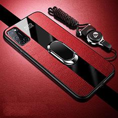 Coque Silicone Gel Motif Cuir Housse Etui avec Support Bague Anneau Aimante Magnetique pour Oppo A72 Rouge