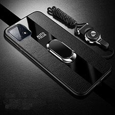 Coque Silicone Gel Motif Cuir Housse Etui avec Support Bague Anneau Aimante Magnetique pour Oppo A73 5G Noir
