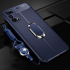 Coque Silicone Gel Motif Cuir Housse Etui avec Support Bague Anneau Aimante Magnetique pour Oppo K7x 5G Bleu