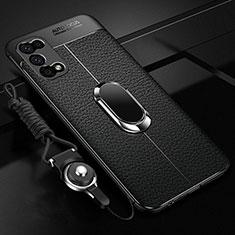 Coque Silicone Gel Motif Cuir Housse Etui avec Support Bague Anneau Aimante Magnetique pour Oppo K7x 5G Noir