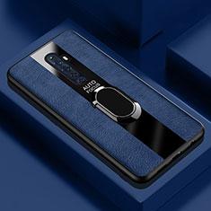 Coque Silicone Gel Motif Cuir Housse Etui avec Support Bague Anneau Aimante Magnetique pour Oppo Reno2 Z Bleu