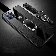 Coque Silicone Gel Motif Cuir Housse Etui avec Support Bague Anneau Aimante Magnetique pour Oppo Reno4 SE 5G Noir
