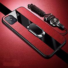 Coque Silicone Gel Motif Cuir Housse Etui avec Support Bague Anneau Aimante Magnetique pour Oppo Reno4 Z 5G Rouge