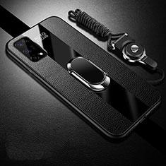 Coque Silicone Gel Motif Cuir Housse Etui avec Support Bague Anneau Aimante Magnetique pour Realme V5 5G Noir