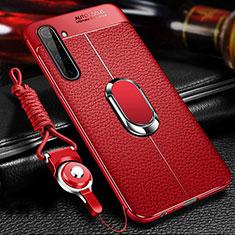 Coque Silicone Gel Motif Cuir Housse Etui avec Support Bague Anneau Aimante Magnetique pour Realme X50 Pro 5G Rouge