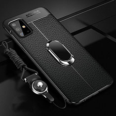 Coque Silicone Gel Motif Cuir Housse Etui avec Support Bague Anneau Aimante Magnetique pour Samsung Galaxy A51 4G Noir