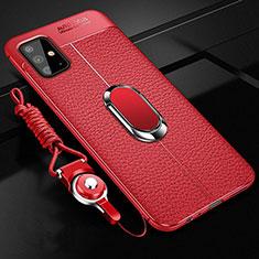 Coque Silicone Gel Motif Cuir Housse Etui avec Support Bague Anneau Aimante Magnetique pour Samsung Galaxy A51 4G Rouge