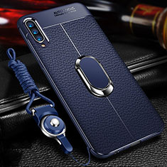 Coque Silicone Gel Motif Cuir Housse Etui avec Support Bague Anneau Aimante Magnetique pour Samsung Galaxy A70 Bleu