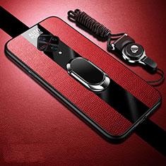 Coque Silicone Gel Motif Cuir Housse Etui avec Support Bague Anneau Aimante Magnetique pour Vivo X50 Lite Rouge