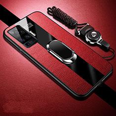 Coque Silicone Gel Motif Cuir Housse Etui avec Support Bague Anneau Aimante Magnetique pour Vivo X50 Pro 5G Rouge