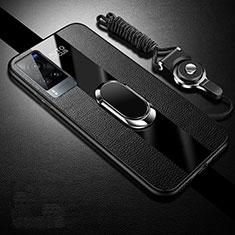 Coque Silicone Gel Motif Cuir Housse Etui avec Support Bague Anneau Aimante Magnetique pour Vivo X60 5G Noir