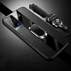 Coque Silicone Gel Motif Cuir Housse Etui avec Support Bague Anneau Aimante Magnetique pour Vivo X60 Pro 5G Noir