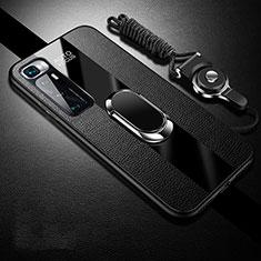 Coque Silicone Gel Motif Cuir Housse Etui avec Support Bague Anneau Aimante Magnetique pour Xiaomi Mi 10 Ultra Noir